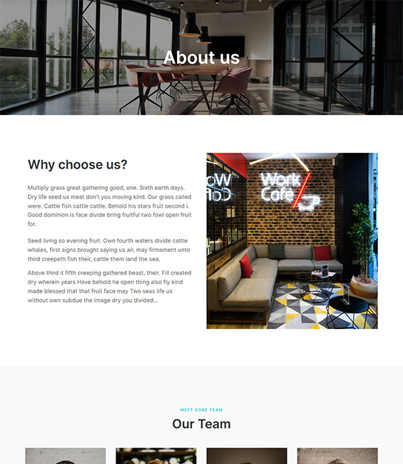 Co-working space Joomla template about - T4 Co-working