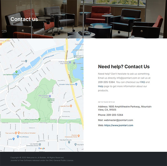 Co-working space Joomla template contact - T4 Co-working