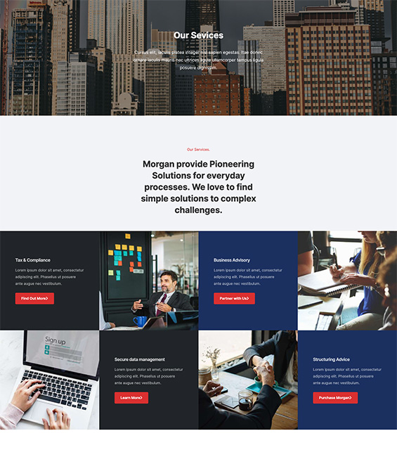 Business Joomla template services page - T4 Morgan