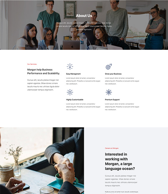 Business Joomla template about page - T4 Morgan