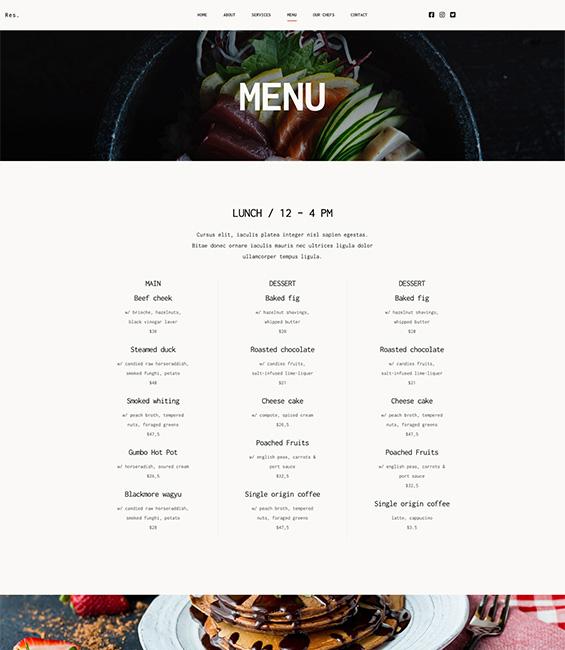 Restaurant Joomla template - Restaurant