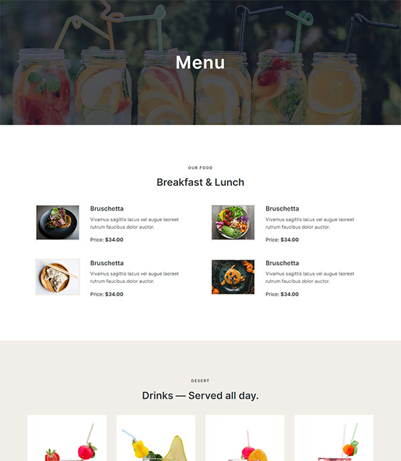 Restaurant Menu Joomla template - T4 Restaurant