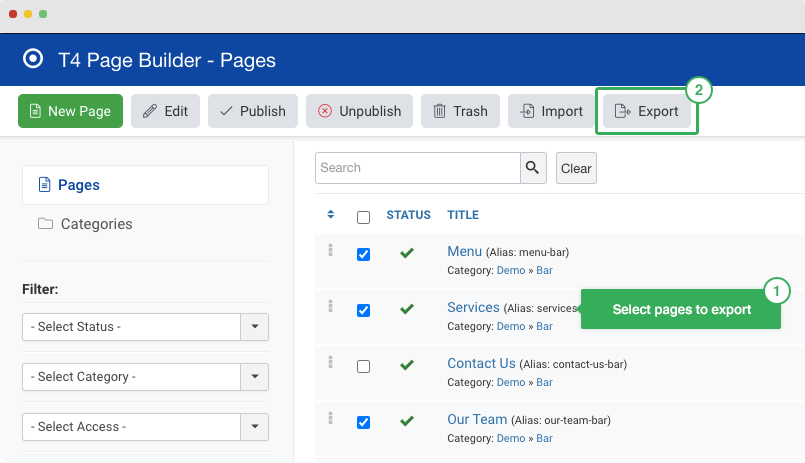 export joomla pages