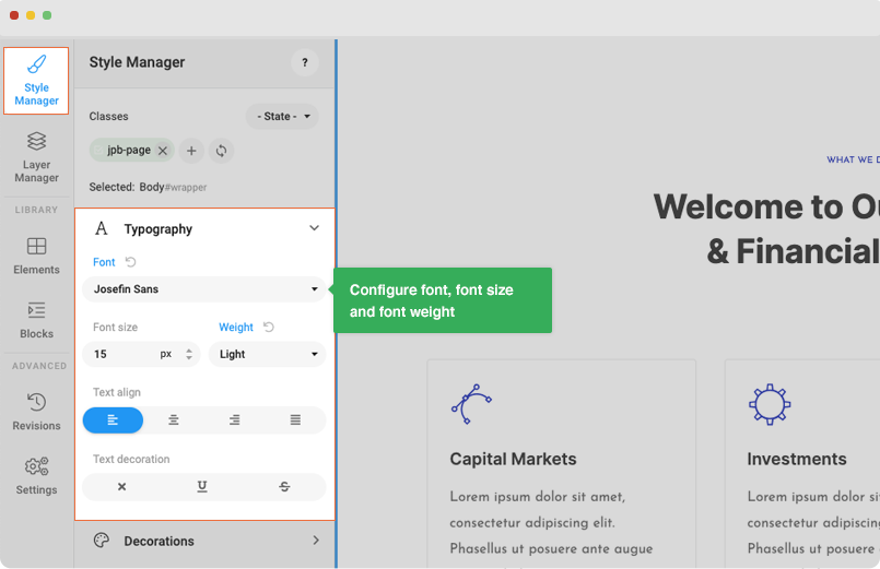 Joomla page builder font settings for page