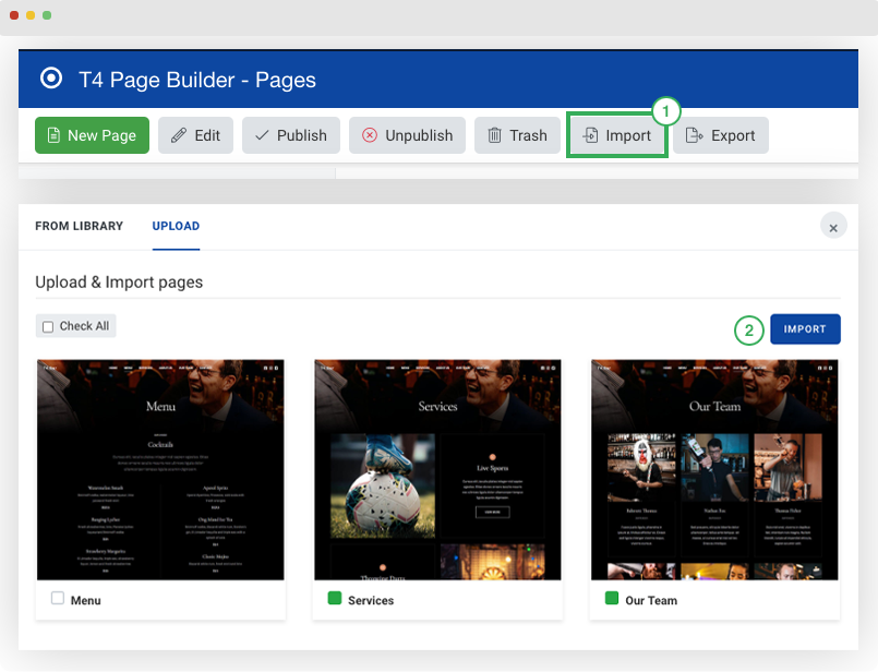 import joomla pages