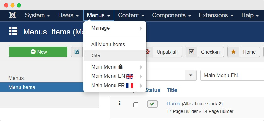 t4 joomla template multilinguage settings