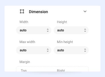 Joomla page builder dimensions settings