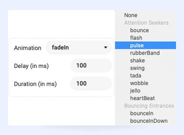 Joomla page builder animation settings