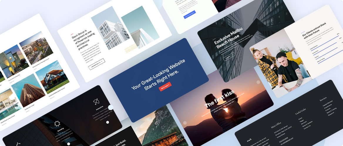 Joomla page builder pre-made section designs