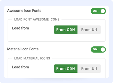 Joomla page builder font icons settings