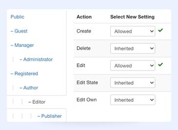 Joomla page builder permission settings