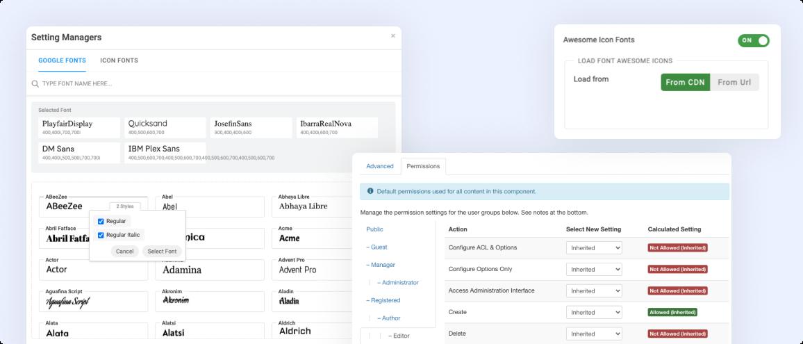 Joomla page builder settings