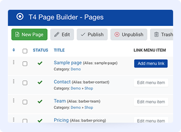 Joomla page builder page manager